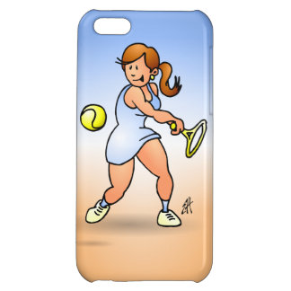 Tennis girl hitting a backhand iPhone 5C cases