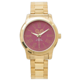 Tennis Gold Monogram Personalize Watch