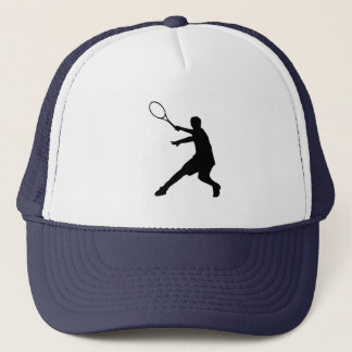 Tennis hat with tennis player silhouette symbol