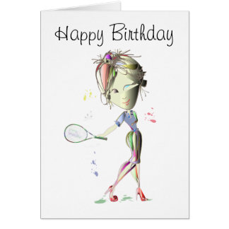 Tennis in red stiletto shoes art card