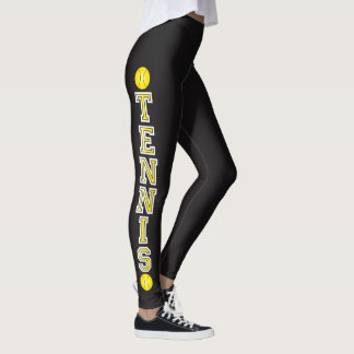 Tennis in Sunshine Yellow Typography Letters Leggings
