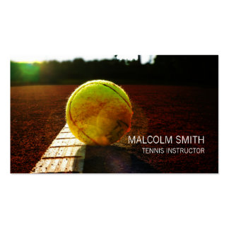 Tennis Instructor Tennis Ball On Ground Closeup Business Card