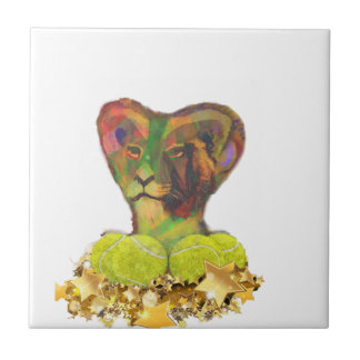 Tennis, Lion and the Stars Ceramic Tile