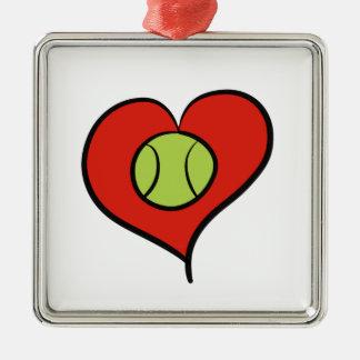 Tennis love Silver-Colored square decoration