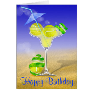 Tennis Margarita Happy Birthday Card