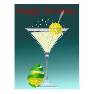 Tennis Martini Happy Birthday Postcard