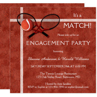 Tennis Match Themed Engagement Party Invitation