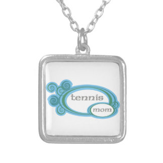 Tennis Mom Swirl Silver Plated Necklace