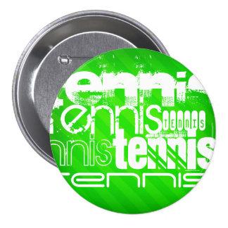 Tennis; Neon Green Stripes. 7.5 Cm Round Badge