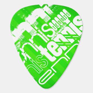 Tennis; Neon Green Stripes. Guitar Pick