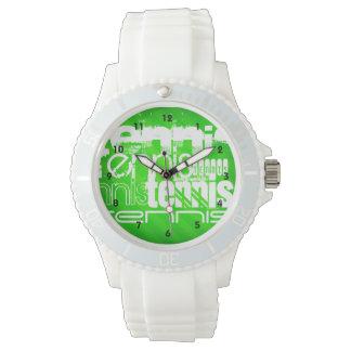 Tennis; Neon Green Stripes. Wrist Watches