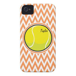 Tennis Orange and White Chevron iPhone 4 Case-Mate Cases