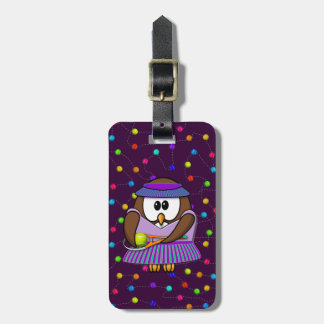 tennis-owl girl luggage tag