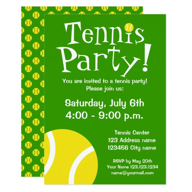Tennis party invitations for Birthdays or BBQ | Zazzle