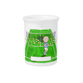Tennis Player, Male - Personalized Cartoon Pitcher