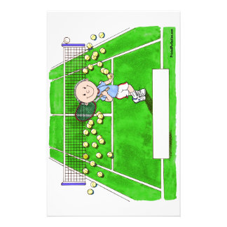 Tennis Player, Male - Personalized Cartoon Stationery