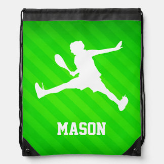 Tennis Player; Neon Green Stripes Drawstring Bag
