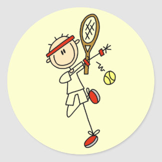 Tennis Player with Racquet Tshirts and Gifts Round Sticker