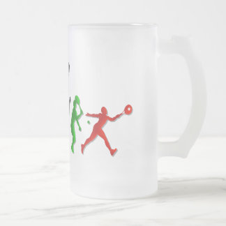 Tennis players Ball Tennis Coaches Sports Frosted Glass Beer Mug