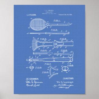 Tennis Racket 1916 Patent Art - Blueprint Poster