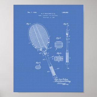 Tennis Racket 1925 Patent Art Blueprint Poster