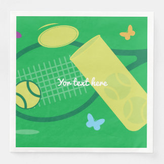 Tennis racket and ball BBQ or kids Birthday party Disposable Napkin