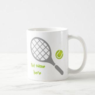 Tennis racket and ball custom coffee mug