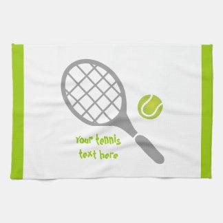 Tennis racket and ball custom tea towel