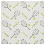 Tennis racket, ball and your name personalised fabric