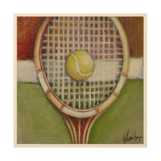 Tennis Racket with Ball Laying on Court Wood Wall Decor