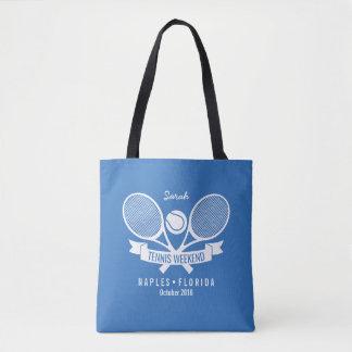 Tennis Racquet Ball Personalized Custom Blue Logo Tote Bag