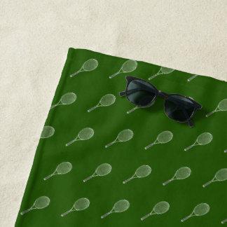 tennis racquets pattern green beach towel