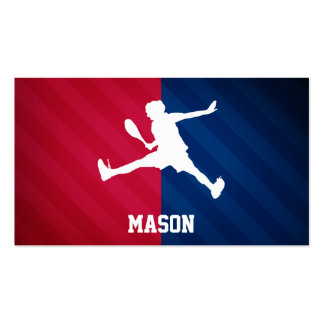 Tennis; Red, White, and Blue Double-Sided Standard Business Cards (Pack Of 100)