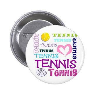 Tennis Repeating 6 Cm Round Badge