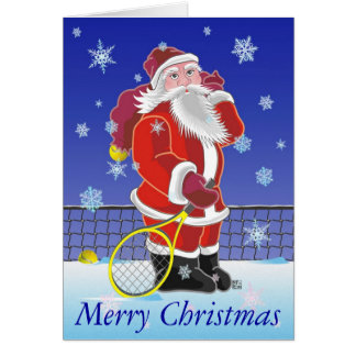 Tennis Santa Happy Holidays Card