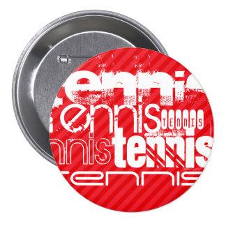 Tennis; Scarlet Red Stripes 7.5 Cm Round Badge