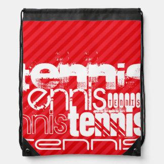 Tennis; Scarlet Red Stripes Drawstring Bags