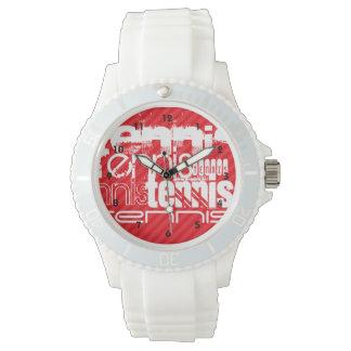 Tennis; Scarlet Red Stripes Wristwatch