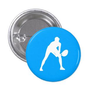 Tennis Silhouette Button Blue