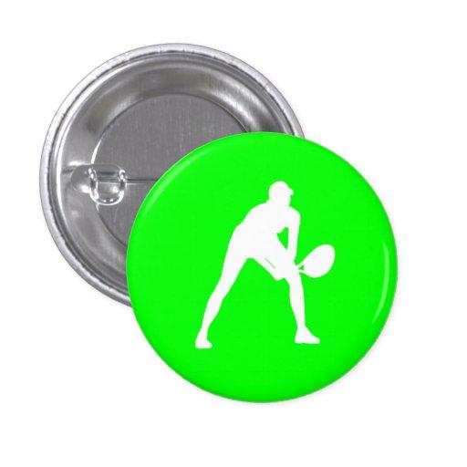 Tennis Silhouette Button Green