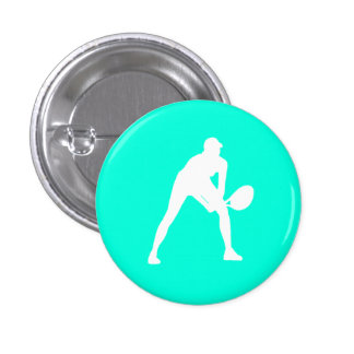 Tennis Silhouette Button Turquoise