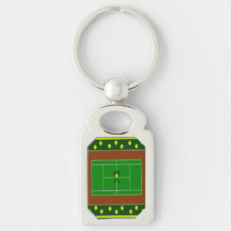 Tennis Silver-Colored Rectangle Key Ring