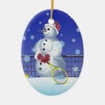 Tennis Snowman, Happy Holidays Christmas Tree Ornaments
