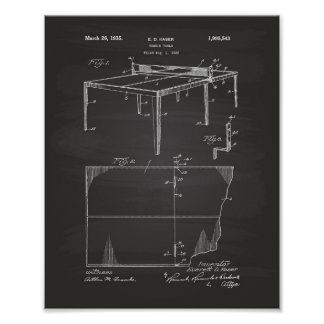 Tennis Table 1935 Patent Art Chalkboard Poster