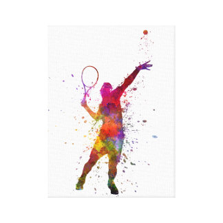 tennis to player AT service serving silhouette 01 Canvas Print