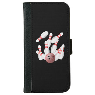 Tenpin bowling Pins and Bowling Ball iPhone 6 Wallet Case