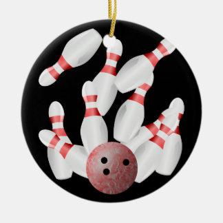 Tenpin bowling Strike Ceramic Ornament