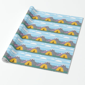 Tent and mountains wrapping paper