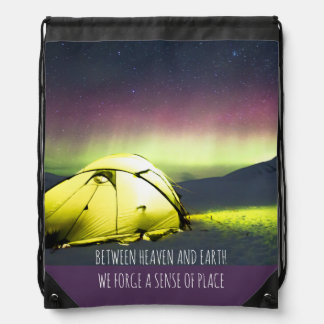 Tent Camper Under Aurora Borealis At Night Drawstring Bag