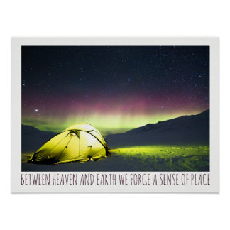 Tent Camper Under Aurora Borealis At Night Poster